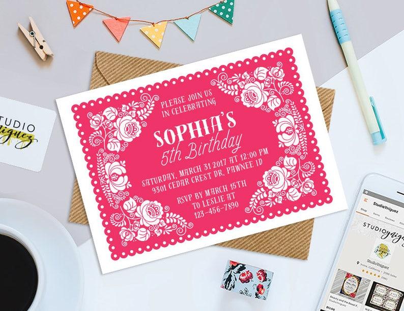 Papel Picado Party Printable Invitation Dia De Los Muertos image 0