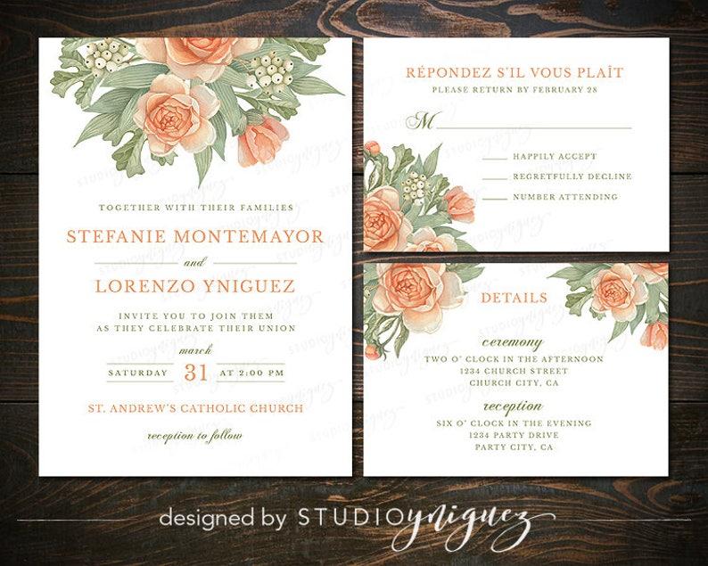 Rustic Floral Wedding Printable Invitation Suite Peach Sage image 0