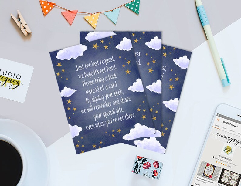 Over the Moon Baby Shower Book Insert Moon and Stars Shower image 0