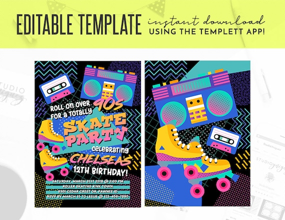 90s Theme Birthday Party Editable Invitation Skate Party Etsy