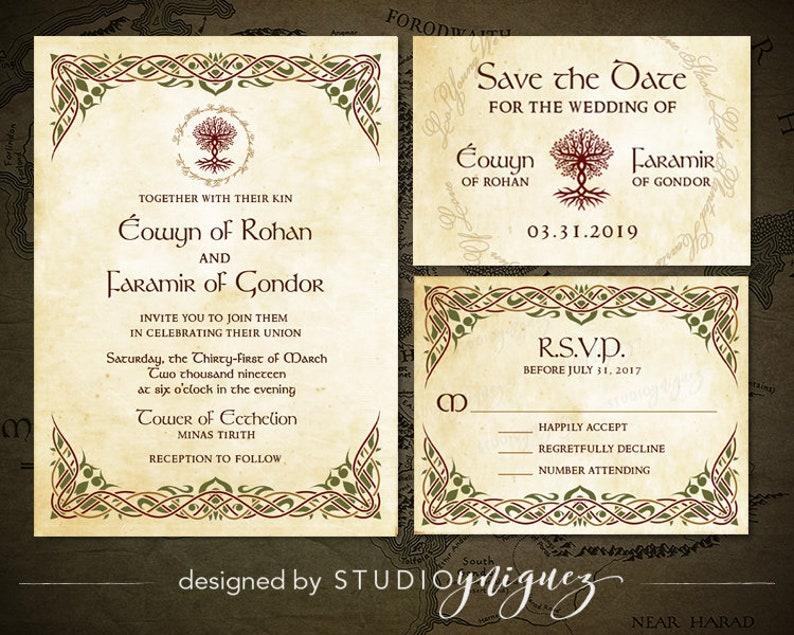 Medieval Wedding Printable Invitation Suite Renfaire image 0