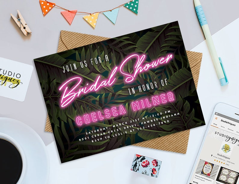 Neon Tropical Bridal Shower Printable 7 x 5 image 0