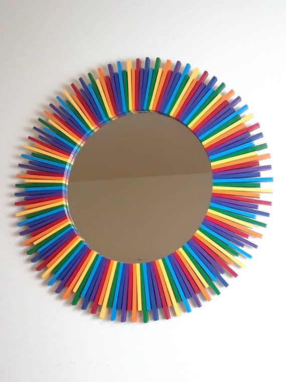 Rainbow Colors Round Wall Mirror Rainbow Sunburst 27