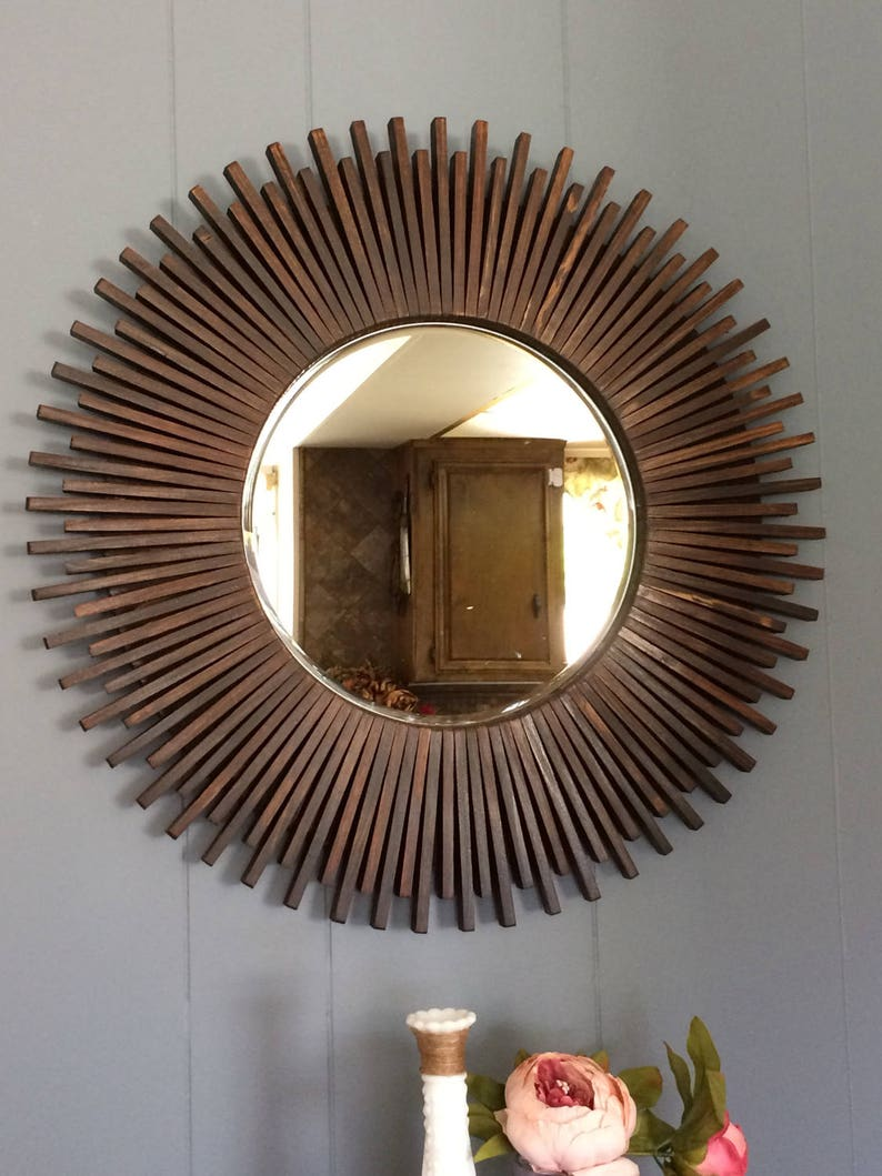 Sunburst Round Wall Mirror Wood Dark Walnut Color 23