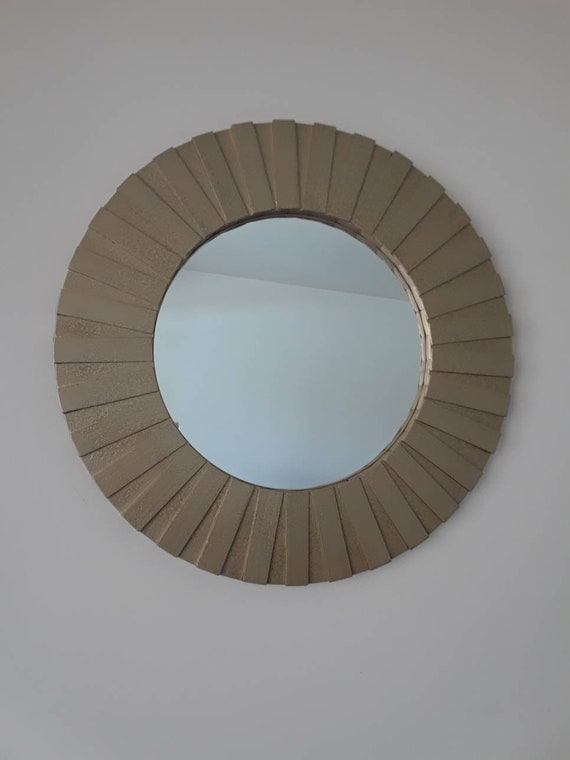 Round Wall Mirror Handmade 26 Hammered Gold Color Solid Etsy