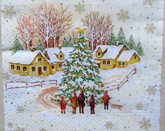 Decoupage paper Christmas and New Year Decoupage paper napkins Winter Christmas tree
