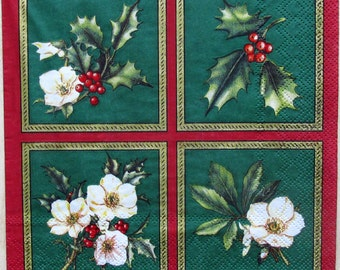 Round decoupage paper Christmas and New Year Decoupage paper napkins Poinsettia mistletoe