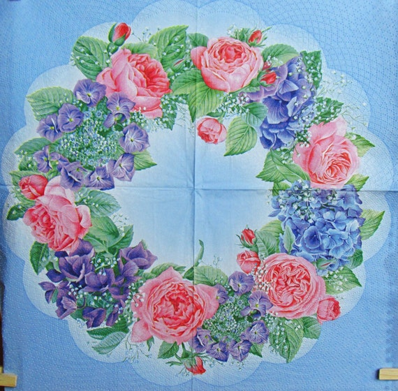 Decoupage paper napkin roses flower scrapbooking supplies etsy image 0 mightylinksfo