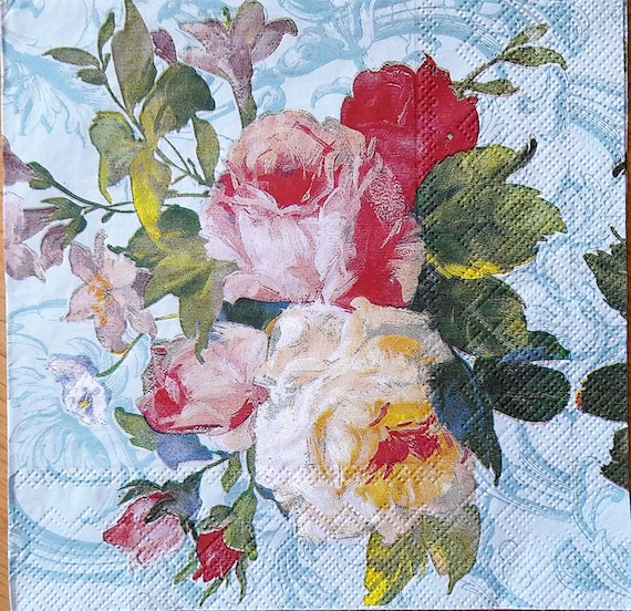 Decoupage paper napkins flower scrapbooking supplies decoupage etsy image 0 mightylinksfo