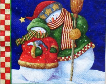 Decoupage paper Christmas and New Year Decoupage paper napkins Winter Snowman