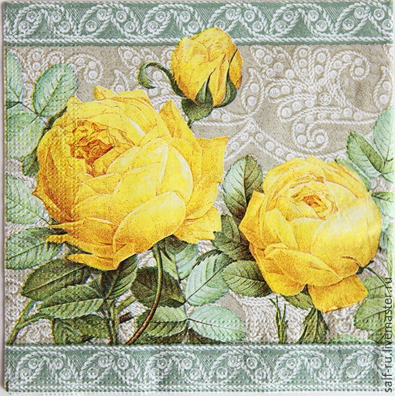 Set Of 2 Napkins Decoupage Paper Napkins Flower Yellow Rose Etsy