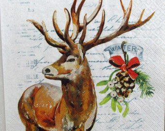 Decoupage paper Christmas and New Year Decoupage paper napkins Winter deer