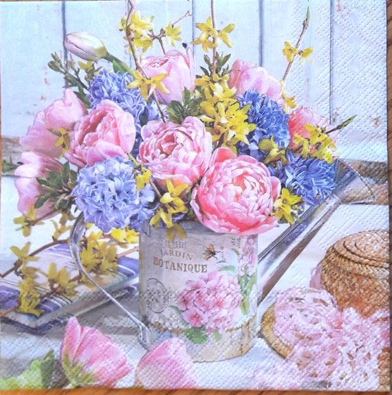 Decoupage Paper Napkins Flowers Scrapbooking Supplies Etsy