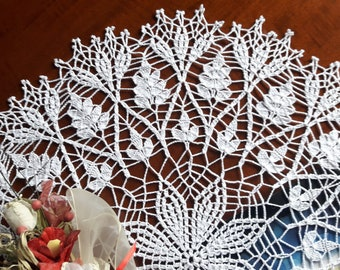 easter crochet tablecloth, large round placemat, table decoration, wedding, lace doily, centerpiece, napperon, unique birthday gift, for her