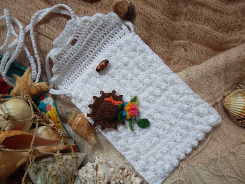 Crochet phone bag cover knit phone case summer small crossbody bag beach sea accessories bouquet floral unique birthday gift easter gift mom