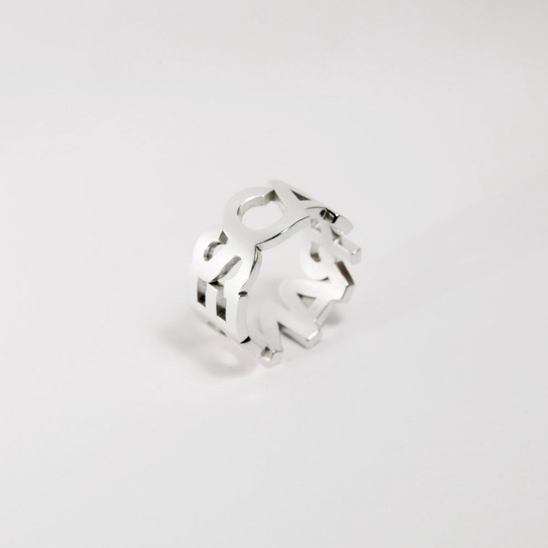 Text to customize Band ring Letters Sterling 925 Written Customizable ring Ring Written BOLD