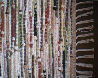 "Sock Looper and Knit Rag Rug/Cream,Greens,Tan,Rust/48"" X 23"""