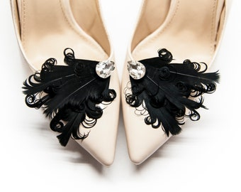 1c4abaab144 Black Feathers for shoes with crystal - Mififi Shoe Clips Wedding shoes  decorations Bride Shoes Handmade Shoe Clips