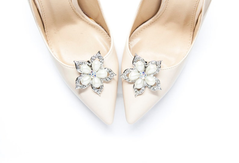 9de4af8273cdd Jewelry flowers decorations with crystals and cream pearls shoe clips-  Mififi shoe clips Shoeclips