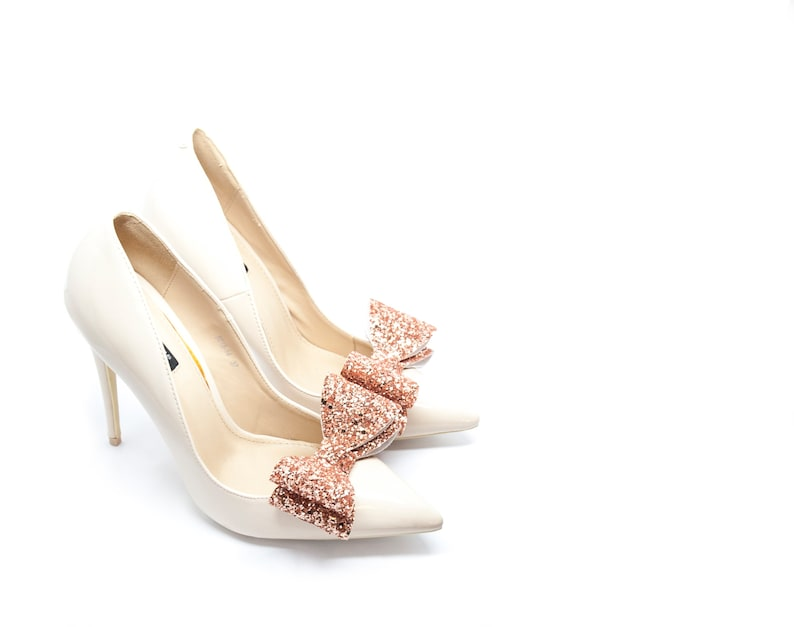Wedding shoe clips Gold Rose Glitter Bows Shoe Clips- Mififi Bride shoes Shining Handmade shoes decorations Brocade clips for shoes
