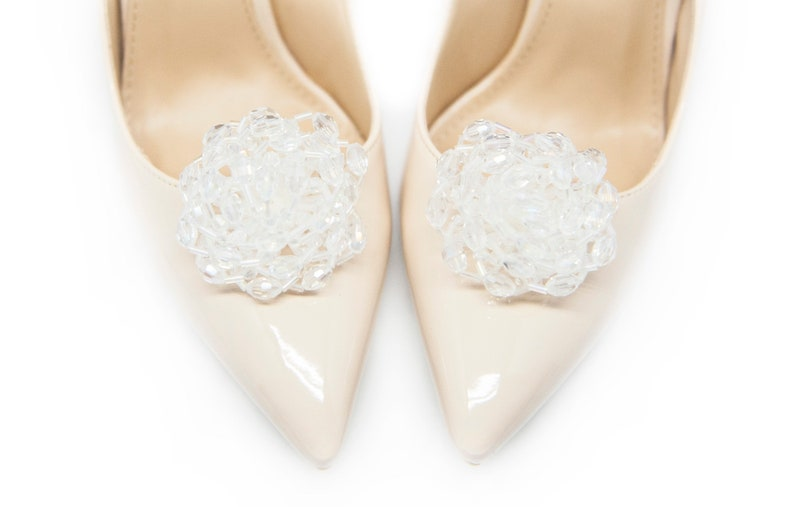Mififi Shoe Clips White iridescent Beads Ornaments