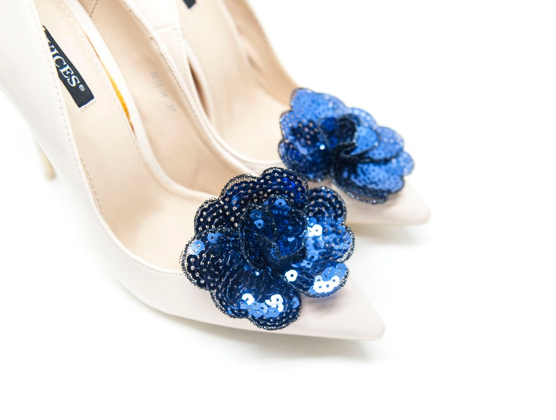 Navy blue sequins flowers Flowers navy blue clips for shoes Mififi Shoe Clips sequins flowers for shoes navy blue shoe clips
