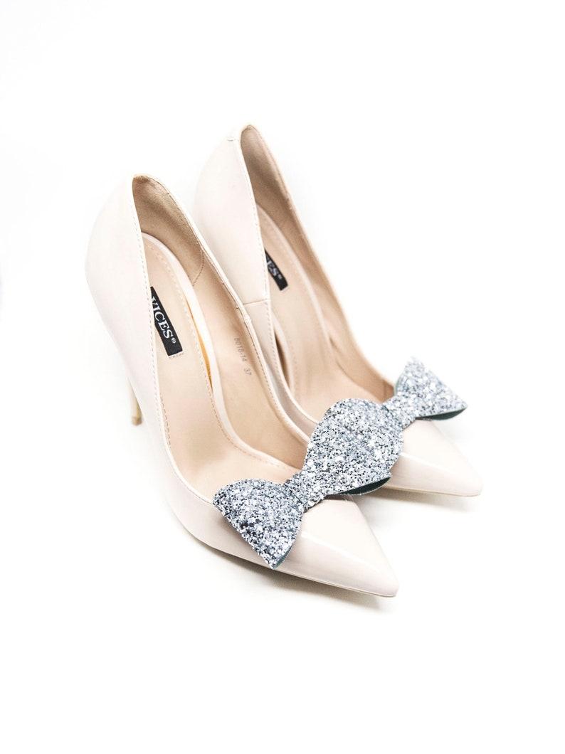 8e243d863efa8 Silver Brocade 3D bows shoe clips, Glitter bows- Mififi shoe clips Wedding  shoes Wedding shoe clips Bridal shoe clips Clips for shoes