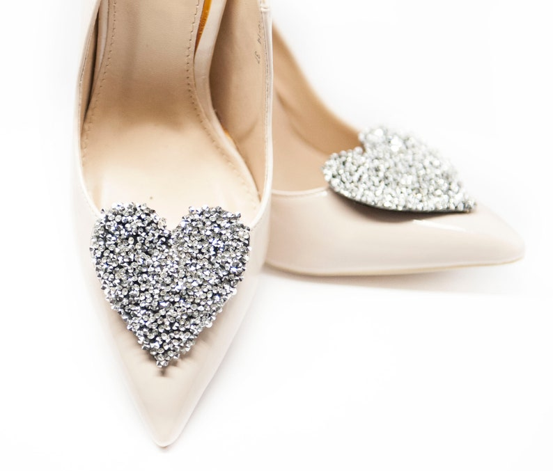 ead6959accd59 Crystal Hearts for shoes- Mififi Shoe Clips Wedding shoe clips Bridal shoe  clips Clips for shoes Crystal shoe clips