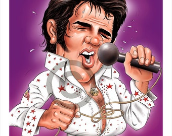 The King ELVIS PRESLEY caricature - artwork print signed by artist - 100 print edition - 2 sizes - airbrush pencil cartoon