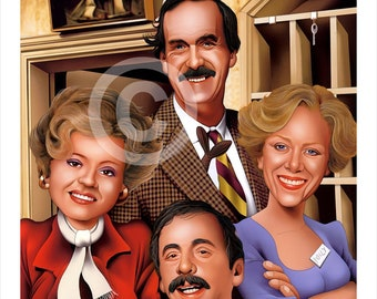 FAWLTY TOWERS caricature - artwork print signed by artist - 100 print edition - 2 sizes - airbrush pencil cartoon