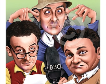 THE GOON SHOW caricature - artwork print signed by artist - 100 print edition - 2 sizes - airbrush pencil cartoon