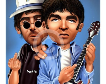 Noel and Liam OASIS caricature - artwork print signed by artist - 100 print edition - 2 sizes - airbrush pencil cartoon