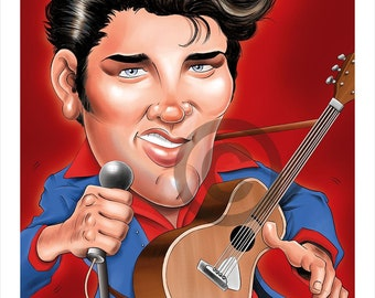 Elvis Presley caricature - artwork print signed by artist - 100 print edition - 2 sizes - airbrush pencil cartoon