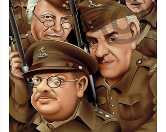 DAD'S ARMY caricature - artwork print signed by artist - 100 print edition - 2 sizes - airbrush pencil cartoon
