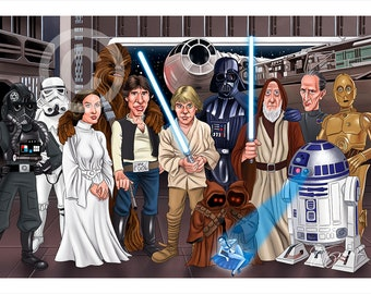 Episode 4 STAR WARS caricature - artwork print signed by artist - 100 print edition - 2 sizes - airbrush pencil cartoon