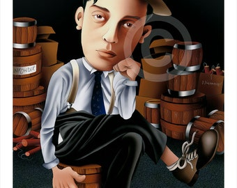 Buster Keaton caricature - artwork print signed by artist - 100 print edition - 2 sizes - airbrush pencil cartoon