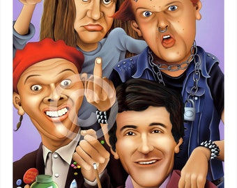 THE YOUNG ONES caricature - artwork print signed by artist - 100 print edition - 2 sizes - airbrush pencil cartoon