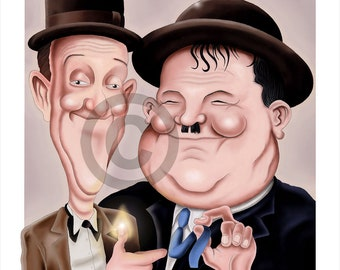 Laurel and Hardy STAN & OLLIE caricature - artwork print signed by artist - 100 print edition - 2 sizes - airbrush pencil cartoon