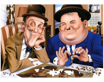 Laure & Hardy STAN and OLLIE caricature - artwork print signed by artist - 100 print edition - 2 sizes - airbrush pencil cartoon