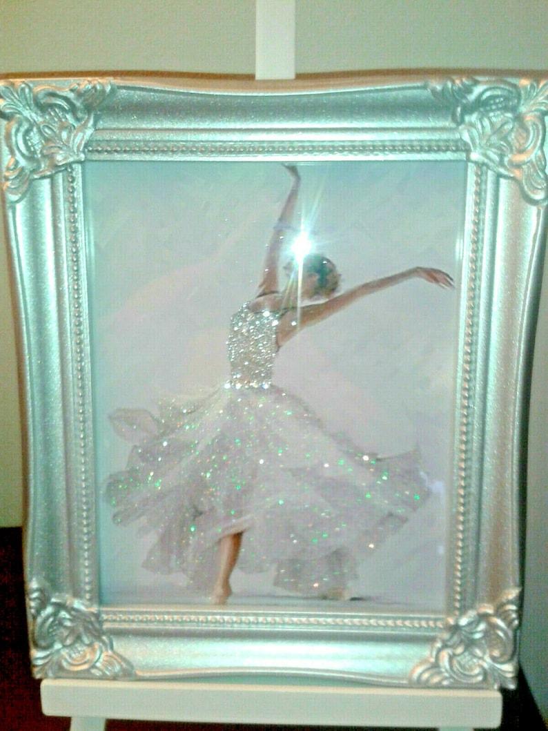 Print Only No Frame Glitter Picture Ballerina Dancer Glitter Canvas Picture