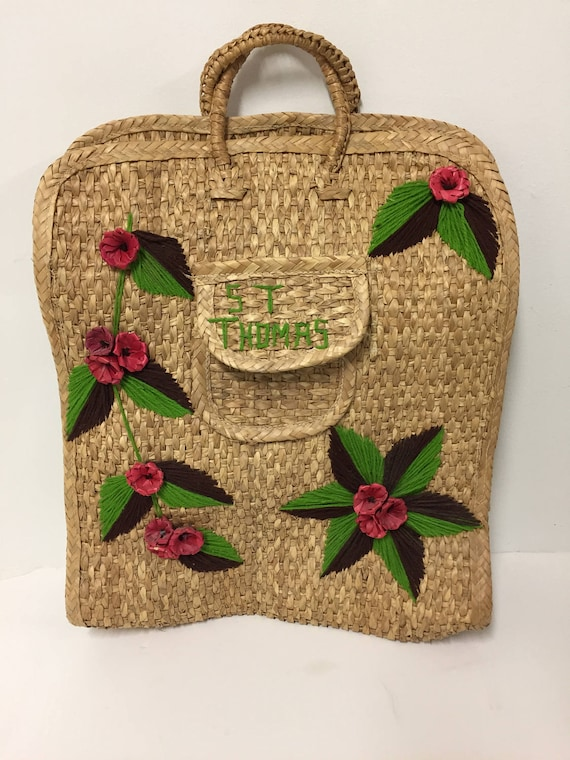 Vintage Woven Straw Bag/ Vintage Straw Tourist Bag