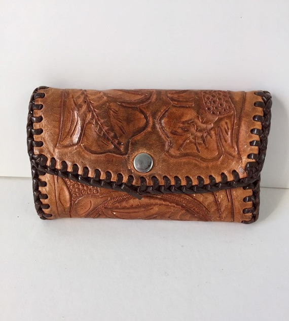 Vintage Tooled Leather Key Wallet  Vintage Key Chain  Vintage  6df0063cd