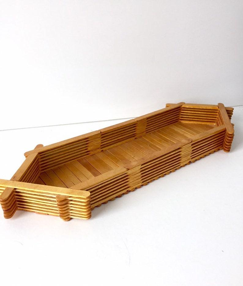 Popsicle Stick Tray/ VIntage Craft Tray/ Folk Art Basket