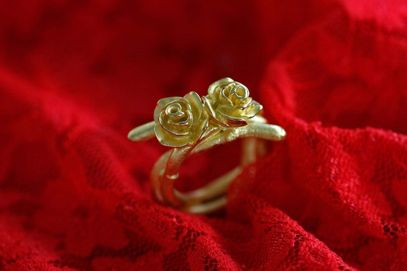 Goldsmith/'s Work Dream Rose Ring in 925 Silver22 kt Golden Plattes by Frank Schwope Unique Jewelry Ring