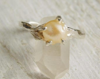 "Organic Pearl Ring in Argentium Silver,""Can be Resized"" Natural Freshwater Spiney Pearl Ring, June Birthstone"