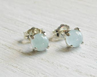 Aquamarine Sterling Silver Studs, 5mm Dainty Studs, Small Studs