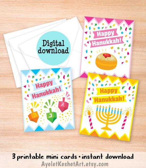 photo relating to Printable Hanukkah Cards referred to as Mounted of 3 mini printable Content Hanukkah playing cards envelope template. Dreidel, menorah and doughnuts. Instantaneous down load, 3 reduced greeting playing cards.