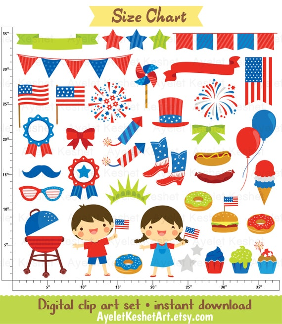 PNG and vector files for Personal /& commercial use. Graphics and digital paper for USA Independance Day 4th of July Digital Clipart set