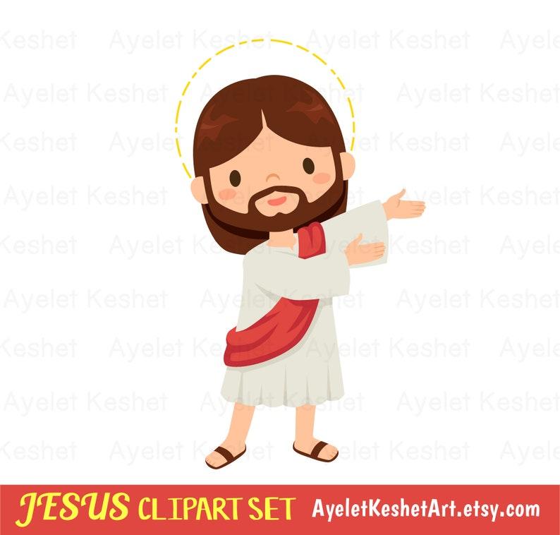 Jesus clipart set. Digital clipart bundle of cute Jesus | Etsy