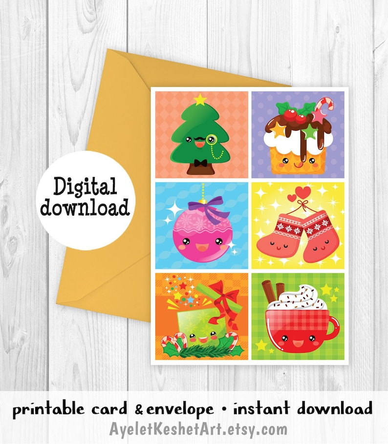 picture relating to Printable Christmas Cards for Kids titled Lovable Kawaii Xmas card for youngsters Printable greeting playing cards Instantaneous down load of A6 dimensions printable card Envelope